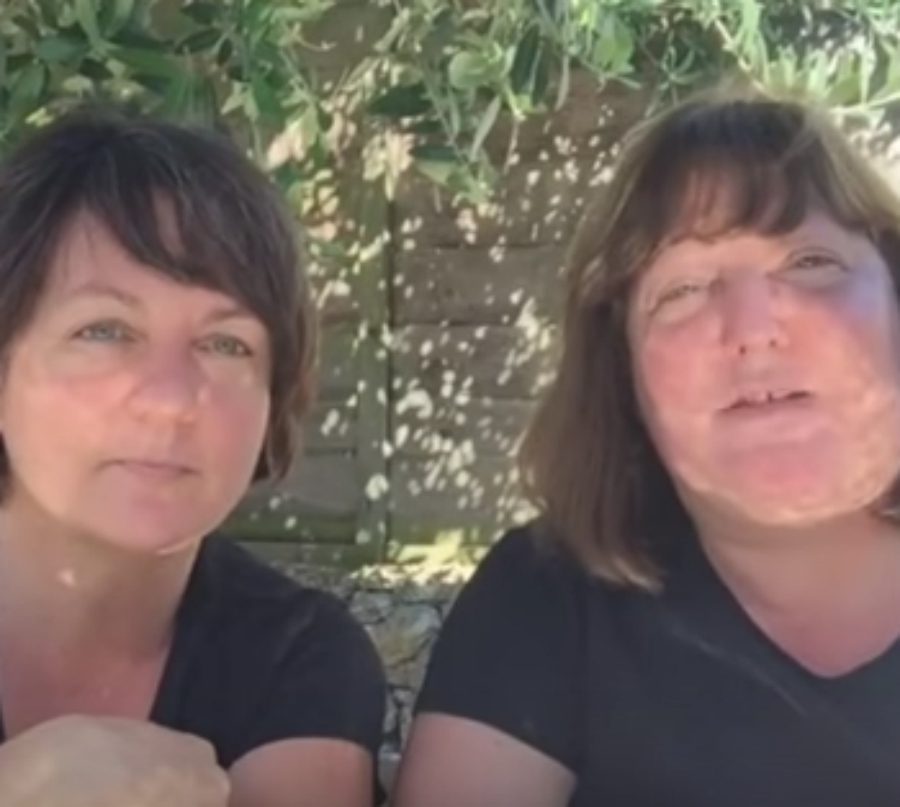 Why move to stoupa? Sarah and Nicola discuss out in the garden